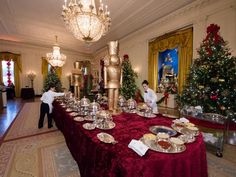 The 2016 White House Christmas Tour -The East Room-the Crèche that has been featured for 45 years under nine Presidents.