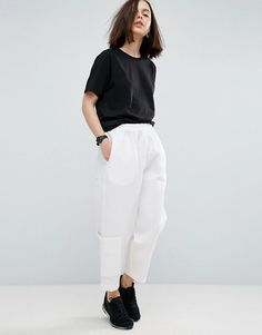 ASOS WHITE Textured Ovoid Pull On Pants