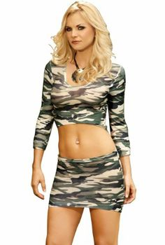 Camo Top and Mini Skirt - Camouflage Cami Top and Skirt This sexy set features a long sleeve camouflage cami top and matching mini skirt. Camo Lingerie, Lingerie Set, Camo Cakes, Camo Top, Cami Set, Clubwear, Lounge Wear, Long Sleeve Tops, Skirt Set