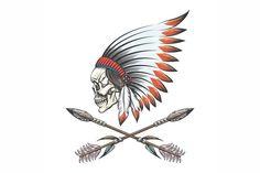 American Illustration, Graphic Illustration, Headdress Tattoo, Crossed Arrows, Native American Headdress, War Bonnet, Native American Design, Back Art, Arrow Tattoos