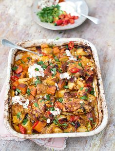 Chicken & Chorizo Bake Peppers, Sweet Potatoes & Spuds - The Happy Foodie