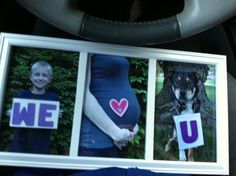 A Father's Day gift from son, expecting wife, and the dog! Cheap, easy, fast and adorable. Total cost for prints, frame, and craft supplies was around ten bucks!