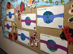 Earth Day Projects for PreK. Protect the Earth hand print, hugging poster.