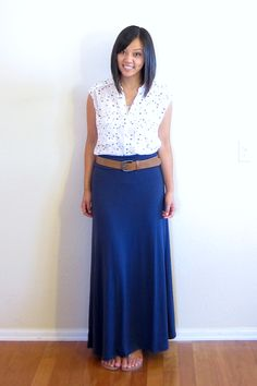 polka dot blouse + statement belt + maxi skirt | putting me together blog
