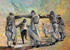 الدبكة الفلسطينية ....  لوحة من عمل الفنان احمد كنعان