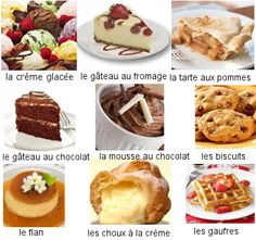 French Desserts Vocabulary: http://www.frenchlearner.com/vocabulary/desserts/    Quel dessert préfères-tu? Which dessert do you like? Moi, j'aime la mousse au chocolat! -David