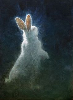 white rabbit painting glowing moonlight night artwork - please comment if you know the artist's name. Bunny Art, Cute Bunny, Year Of The Rabbit, White Rabbits, Rabbit Art, Rabbit Head, Wow Art, Animal Paintings, Pet Birds