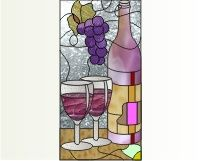 Lollie's cabinet 3c two wine glasses wine bottle leaves grapes kitchen cabinet stained glass and window cling pattern []$2.00 | PDQ Patterns