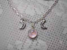 Faerie Pink Rainbow Moonstone triple goddess moon necklace