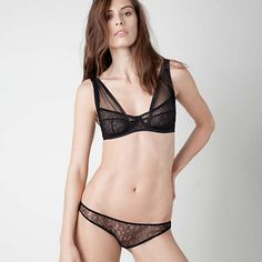 Damaris Panther Lace and Silk Tulle Non Padded Shoulder Bra