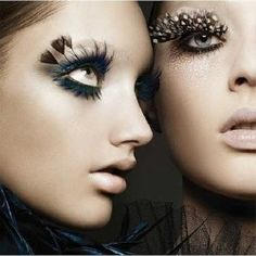 Bright Eye Make-Up Feather Eyelashes Feather Eyelashes, Fake Eyelashes, False Lashes, Big Lashes, Eyelashes Makeup, Exotic Eye Makeup, Crazy Eye Makeup, Make Up Looks, Beauty Make-up