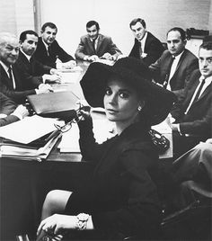 Natalie Wood commanding a boardroom, 1963