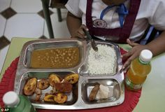School lunches around the world: In Havana Cuba: chicken croquette, taro root and soup.
