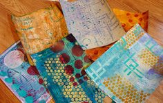 Diane Salter - A New Step-by-Step Tutorial for 2015 including the use of Gelli painted papers! But let me back up, and show you how I started. I began by getting out my paints and art tools and warming up by painting papers on heavy card stock paper (110lb paper that I get at Staples office supply store)--