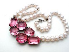 "Vintage Pink Pearl Rhinestone Necklace 17"" Pretty In Pink Wedding"