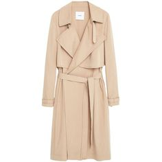 Mango Flowy Trench Coat, Medium Brown ($50) ❤ liked on Polyvore featuring outerwear, coats, medium brown, trench coat, long sleeve coat, lightweight trench coat, beige trench coat and lapel coat
