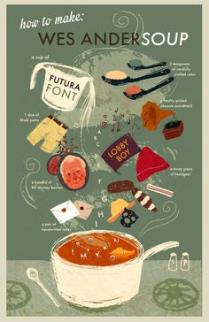 """""""How to make Wes Andersoup"""" - an infographic on the ingredients needed to make Wes Anderson soup. Food Graphic Design, Graphic Design Illustration, Recipe Drawing, Information Design, Art Graphique, Food Illustrations, Design Reference, Brochure Design, Food Art"""