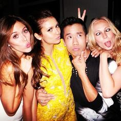 Kayla Ewell, Nina Dobrev and Candice Accola with Jared Eng at the Cosmopolitan Summer Bash
