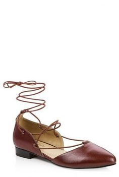 Almond toe cutout ballet flat with lacing through foot and ankle. Clothing For Tall Women, Clothes For Women, Long Tall Sally, Shoes Too Big, Clothing Company, Women's Clothing, Large Women, Ballet Flats, Ballerina