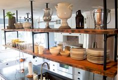 Pleasurable Inspiration Pipe Shelves Kitchen Brilliant Design Hanging Made From Pine Boards And Gas Piping Shelf - Shelves Ideas Budget Kitchen Remodel, Kitchen On A Budget, Diy Kitchen, Kitchen Ideas, Kitchen Renovations, Diy Pipe Shelves, Diy Hanging Shelves, Suspended Shelves, Cottage Kitchens