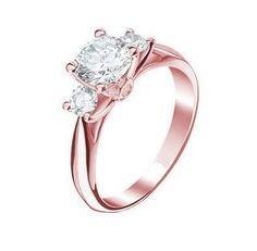 hermoso anillo de compromiso en oro rosa 10k macizo diamante
