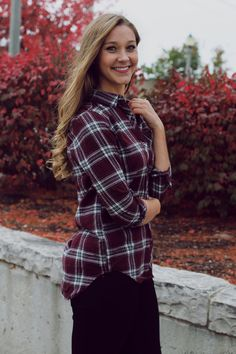Burgundy Detachable Hood Plaid Top