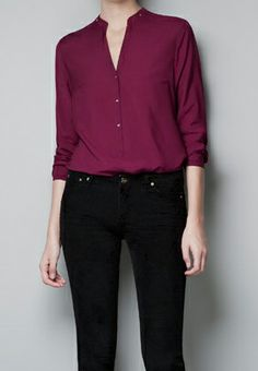 Wine Red V Neck Long Sleeve Buttons Blouse - Sheinside.com