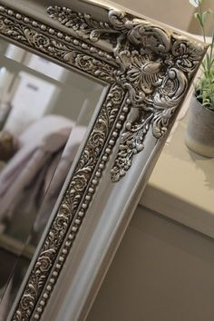 AFTER: Hand painted mirror in Autentico metallic silver with dark brown wax detail