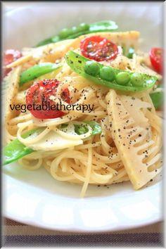 フライパンひとつでパスタ☆筍・プチトマト・スナップえんどうのパスタ アーリオオーリオ - ベジタブルセラピー