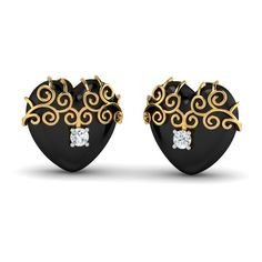 Vintage Heart Studs 18 karat Gold and Black Onyx Studs Do you believe that love grows stronger in time? Then these simple heart studs crafted in black onyx with a hint of vintage-like golden swirls are definitely a keeper! Buy Earrings, Heart Earrings, Gold Earrings, Gold Jewelry, Jewellery, Valentines Day Gifts For Her, Valentines Day Hearts, Vintage Heart, Perfect Gift For Her