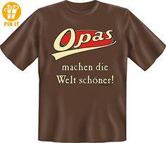 Opas machen die Welt schöner - mit Herz Danke sagen Opa Geschenk T-Shirt - in schoco-braun : ) XL,Braun - T-Shirts mit Spruch | Lustige und coole T-Shirts | Funny T-Shirts (*Partner-Link)