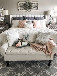 Future Home Interior Simple ideas for adding blush accents to your decor my master bedroom for Spring.Future Home Interior Simple ideas for adding blush accents to your decor my master bedroom for Spring Dream Bedroom, Home Bedroom, Room Decor Bedroom, Bedding Decor, Master Bedroom Furniture Ideas, Bedroom With Couch, Bedding Master Bedroom, Master Room, Romantic Master Bedroom Ideas