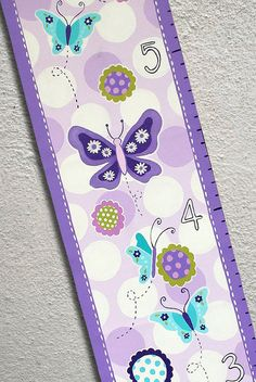 Items similar to Custom Painted Growth Chart Purple Butterflies Flowers Lavender on Etsy Hand Painting Art, Stone Painting, Personalized Growth Chart, Growth Charts, Baby Growth, Purple Butterfly, Painted Stones, Diy Signs, Craft Sale