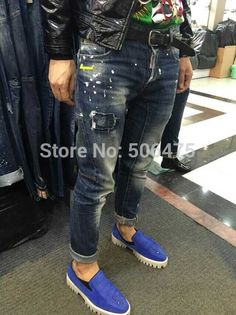 Fashion Men's Jeans Casual DSQ Brands jeans cozy Straight washed skinny frayed Men's jeans Free shipping $65.55