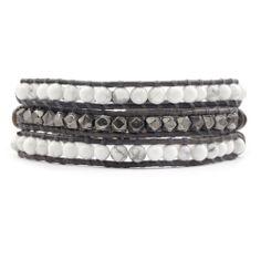 Chan Luu - White Howlite Double Wrap Bracelet on Braided Natural Grey Leather, $195.00 (http://www.chanluu.com/mens-wrap-bracelets/white-howlite-double-wrap-bracelet-on-braided-natural-grey-leather/)