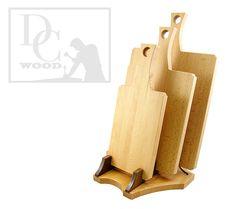 The Saber Collection - Beech Wood Cutting Board Set with Handle - Three Cutting Board Set with Stand - Tiered - Walnut - Modern - Custom
