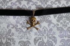 Skull Black Velvet Choker Black Choker  Gothic by FromKawaiiPlanet, $5.00