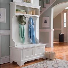 Beautiful hall tree bench for an inviting and organized entryway.