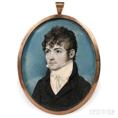 American School, Late 18th/Early 19th Century Portrait Miniature of a Gentleman.