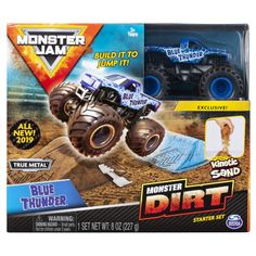 Monster Jam, Blue Thunder Monster Dirt Starter Set, Featuring of Monster Dirt and Official Scale Die-Cast Monster Jam Truck, Multicolor Toy Trucks, Fire Trucks, Monster Trucks, You Monster, Monster Jam, Ultimate Garage, Birthday Gifts For Boys, Birthday List, Real Monsters