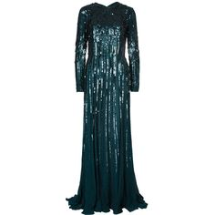 Elie Saab Deep Green All Over Sequin Embellished Long Sleeve Gown M ❤ liked on Polyvore featuring dresses, gowns, silk gown, long sleeve dresses, long sleeve sequin dress, green evening gown and long sleeve ball gowns