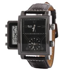 Three Time Zone Mens Wrist Watches Digital LED and Analog Display Quartz Men Watch Vintage Punk Casual Sports Wristwatches Clock