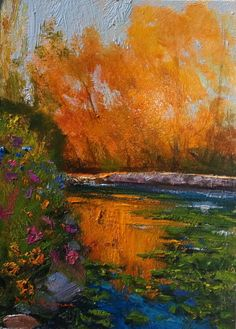 """SOLD-""""Autumn on Sky Pond"""" 5x7 oil by Dix Baines through Dix Baines Stuidio at 720.353.2670 www.dixbaines.com"""