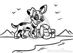 dog beach lifeguard coloring pages cartoon illustration