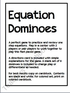 Algebra One Step Equation Dominoes from Coffee Cups Lesson Plans on TeachersNotebook.com (7 pages)  - One Step Equation Dominoes.. great center game or review!