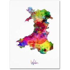 Trademark Fine Art 'Wales Watercolor Map' Canvas Art by Michael Tompsett, Multi