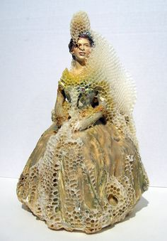 Artist Aganetha Dyck Collaborates with Bees to Create Sculptures Wrapped in Honeycomb wax sculpture nature insects bees