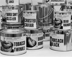 Paint cans 1996-1997 printed labels, cans Collection Stedelijk Museum, Amsterdam, private collections