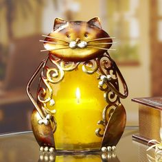 Colored Glass Metal Candle Holder – Cat