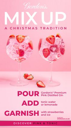 Stir it up this Christmas with a cheeky pink twist on a classic Gordon's & Tonic. Gin Recipes, Gin Cocktail Recipes, Cocktail Drinks, Smoothie Recipes, Alcoholic Drinks, Pink Gin Cocktails, Fancy Drinks, Pink Drinks, Yummy Drinks